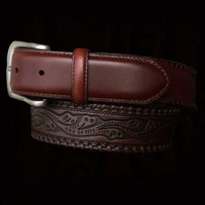 画像1: ウエスタン レザー ベルト(ブラウン)/Leather Belt(Brown)
