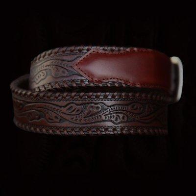 画像2: ウエスタン レザー ベルト(ブラウン)/Leather Belt(Brown)
