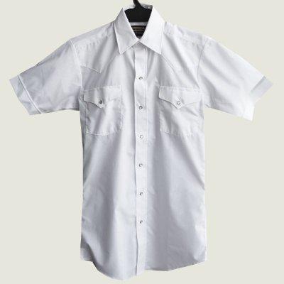 画像1: パンハンドルスリム ウエスタンシャツ(ホワイト・無地/半袖)/Panhandle Slim Short  Sleeve Western Shirt