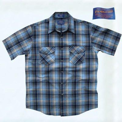 画像1: ペンドルトン 半袖 シャツ(ブルー)L/Pendleton Short Sleeve Shirt