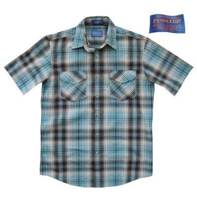 画像1: ペンドルトン 半袖 シャツ(ターコイズ ブルー)S/Pendleton Short Sleeve Shirt