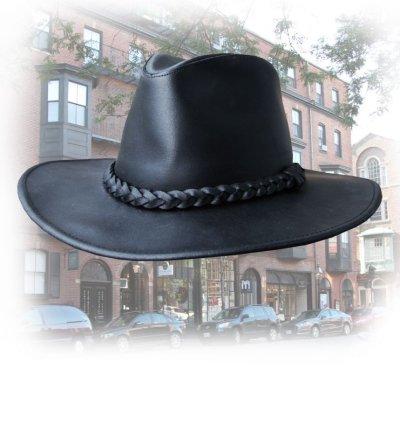 画像1: プレミアム レザー ハット(ブラック)XL/Genuine Leather Hat(Black)