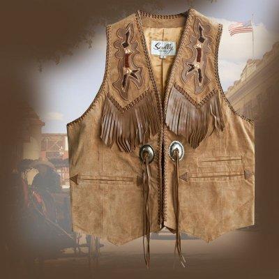 画像1: スカリー ウエスタン レザー フリンジ ベスト(バーボン)/Scully Western Leather Fringe Vest