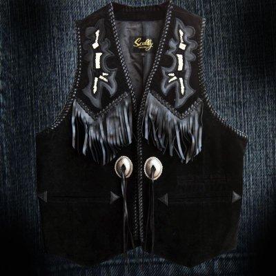 画像1: スカリー ウエスタン レザー フリンジ ベスト(ブラック)/Scully Western Leather Fringe Vest