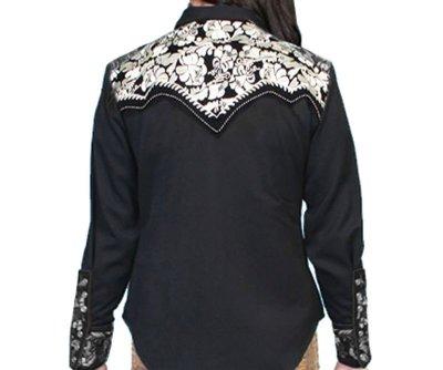 画像2: スカリー 刺繍 ウエスタン シャツ(長袖/ブラック・シルバー)/Scully Long Sleeve Western Shirt(Women's)