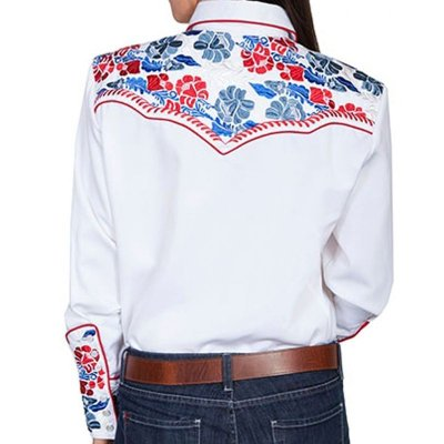 画像2: スカリー 刺繍 ウエスタン シャツ(長袖/ホワイト・フローラルマルチカラー)/Scully Long Sleeve Western Shirt(Women's)