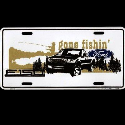 画像1: フォード ライセンスプレート ゴーン・フィッシン'/License Plate