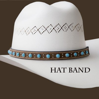 画像1: レザー ハットバンド (ブラウン・ターコイズ)/Hat Band (Brown Turq)