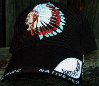 画像1: ネイティブプライド キャップ・インディアンチーフブラック/Native Pride Cap Indian Chief
