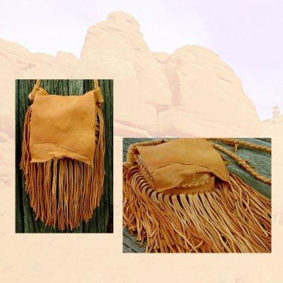 画像2: ディアスキン フリンジ ショルダーバッグ(サドル)/Deerskin Fringe Shoulder Bag(Saddle)