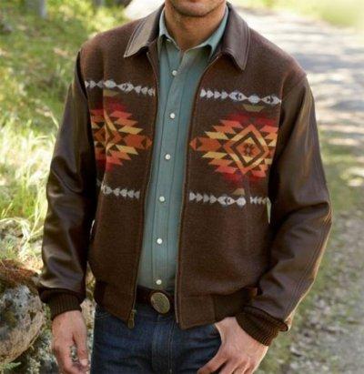 画像1: ペンドルトン ウール・レザー ジャケット ブラウン(Pueblo Dwelling)/Pendleton Cassidy Coat