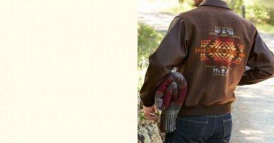画像2: ペンドルトン ウール・レザー ジャケット ブラウン(Pueblo Dwelling)/Pendleton Cassidy Coat