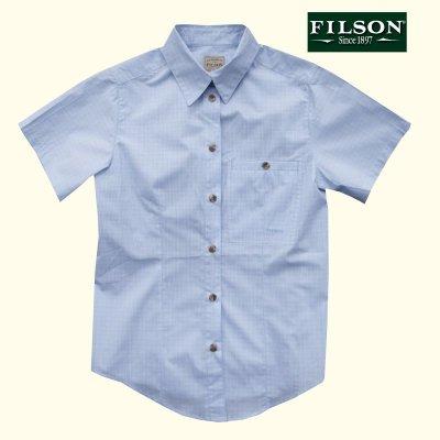画像1: フィルソン Filson レディース 半袖シャツ(ブルーマルチ)