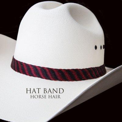 画像1: ホースヘアー ハット バンド(レッド ブラック・ブラック)/Horse Hair Hat Band