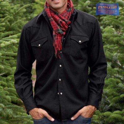 画像1: ペンドルトン ピュアー ヴァ-ジン ウール ウエスタンシャツ(ブラック無地)/Pendleton High Grade Western Shirt(Black)