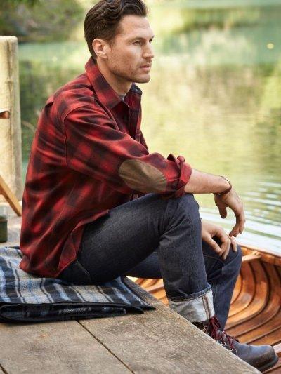 画像3: ペンドルトン ウール シャツ・エルボーパッチ トレイルシャツ レッド ・ブラック オンブレ/Pendleton Trail Shirt (Red Black Ombre)