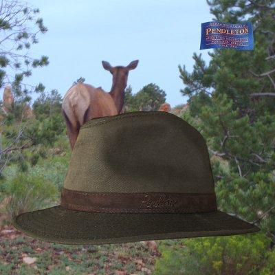 画像1: ペンドルトン ウールラインド オイルスキン ハット(ブラウン・ブラウンウオッチ)XL/Pendleton Wool Lined Oilskin Hat