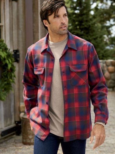 画像2: ペンドルトン ウールシャツ フィッテッド ボードシャツ タン・ブルーオンブレ/Pendleton Fitted Board Shirt