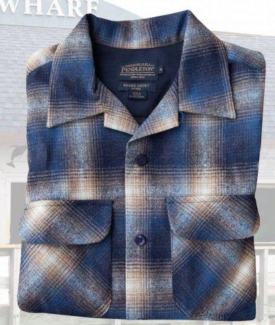 画像1: ペンドルトン ウールシャツ フィッテッド ボードシャツ タン・ブルーオンブレ/Pendleton Fitted Board Shirt