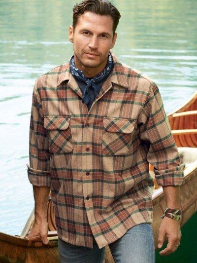 画像3: ペンドルトン ウールシャツ フィッテッド ボードシャツ タン・ブルーオンブレ/Pendleton Fitted Board Shirt