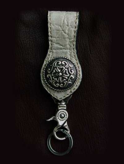 画像1: ファニー エレファント+925シルバー37mmコンチョ ループキーホルダー(エレファントグレー)/Funny Sterling Silver Concho Loop Key Holder(Elephant/Gray)
