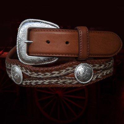 画像2: トニーラマ ホースへアーコンチョベルト(ブラウン)42/Tony Lama Mustang Scallop Belt(Brown)