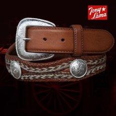 画像1: トニーラマ ホースへアーコンチョベルト(ブラウン)42/Tony Lama Mustang Scallop Belt(Brown) (1)