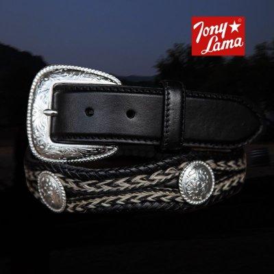 画像1: トニーラマ ホースへアーコンチョベルト(ブラック)/Tony Lama Mustang Scallop Belt(Black)