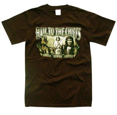 画像1: インディアン チーフ デザイン 半袖Tシャツ(ブラウン)/T-shirt(Native American Design)
