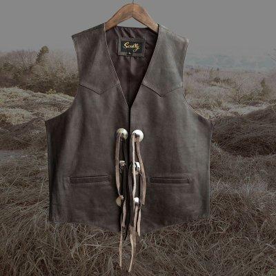 画像1: スカリー ウエスタン レザー&コンチョ ベスト(ブラウン)L/Scully Western Concho Vest(Brown)