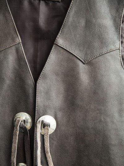 画像2: スカリー ウエスタン レザー&コンチョ ベスト(ブラウン)L/Scully Western Concho Vest(Brown)