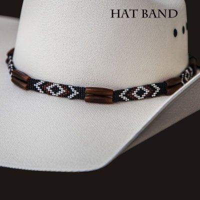 画像1: ハット バンド ホースヘアー・ビーズ・ボーン(ブラウン・ブラック)/Hat Band