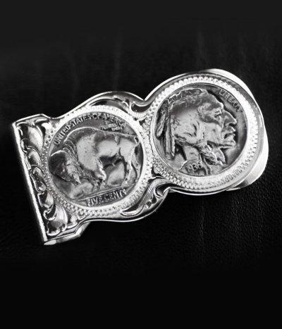 画像1: モンタナシルバースミス マネークリップ バッファロー&インディアン/Montana Silversmiths Buffalo Indian Nickel Scalloped Money Clip