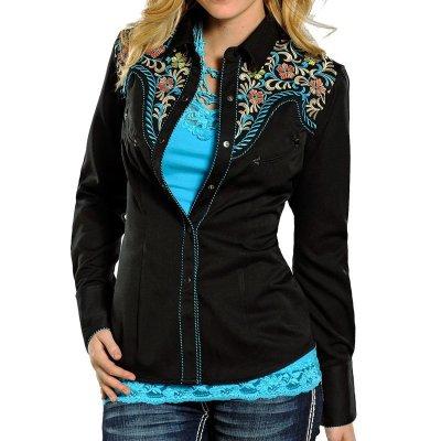 画像2: パンハンドルスリム 刺繍 ウエスタンシャツ フローラル ブラック・ターコイズ(長袖/レディース)S/Panhandle Slim Long Sleeve Western Shirt(Women's)