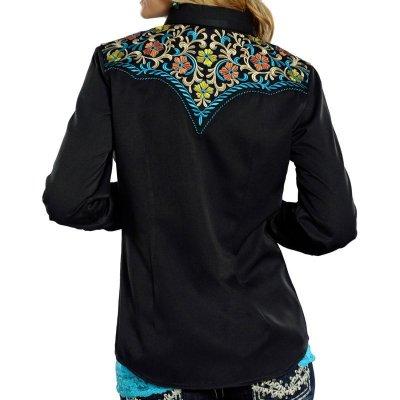 画像3: パンハンドルスリム 刺繍 ウエスタンシャツ フローラル ブラック・ターコイズ(長袖/レディース)S/Panhandle Slim Long Sleeve Western Shirt(Women's)