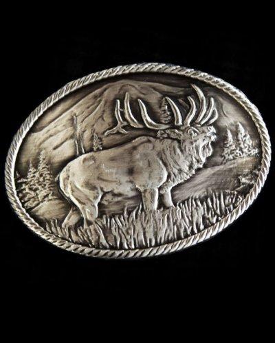 画像2: モンタナシルバースミス アウトドア ベルト バックル ワイルド エルク/Montana Silversmiths Wild Elk Carved Belt Buckle