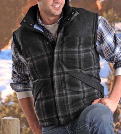 画像1: パウダーリバー ウール ウエスタン ベスト(ブラック)XS/Powder River Wool Vest