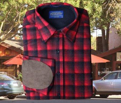 画像1: ペンドルトン ウール シャツ・エルボーパッチ トレイルシャツ レッド ・ブラック オンブレ/Pendleton Trail Shirt (Red Black Ombre)