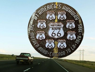画像1: ルート66 8州 ブラックトップ メタルサイン/Metal Sign Route 66