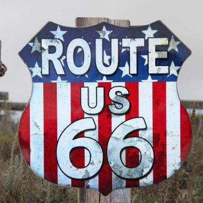 画像1: ルート66 アメリカンフラッグ メタルサイン/Metal Sign Route 66