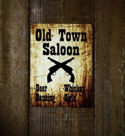 画像1: オールド タウン サルーン メタルサイン/Metal Sign Old Town Saloon