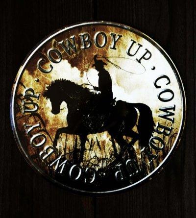 画像1: カウボーイ アップ メタルサイン/Metal Sign Cowboy Up