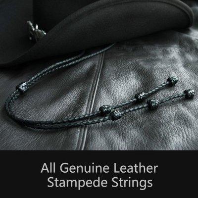 画像1: レザー スタンピード ストリングス ブラック(ハット用あごひも)/Leather Stampede Strings