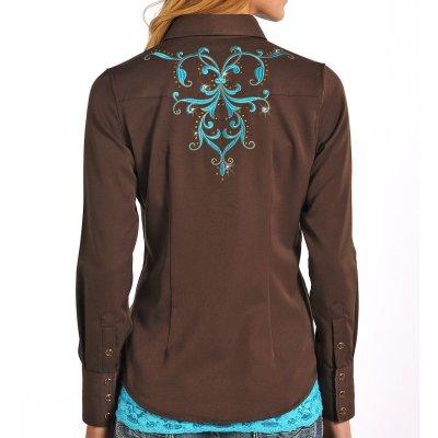 画像3: パンハンドルスリム 刺繍&ラインストーン ウエスタンシャツ ブラウン・ターコイズ(長袖/レディース)/Panhandle Slim Long Sleeve Western Shirt(Women's)
