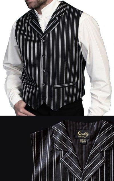 画像1: スカリー オールドウエスト ベスト(ブラック ストライプ)/Scully Old West Vest (Black Stripe)