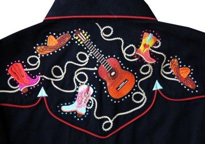 画像3: スカリー 刺繍 ラインスト-ン ウエスタン シャツ(長袖/ブラック ブーツ・ギター・ハット)/Scully Long Sleeve Western Shirt(Women's)