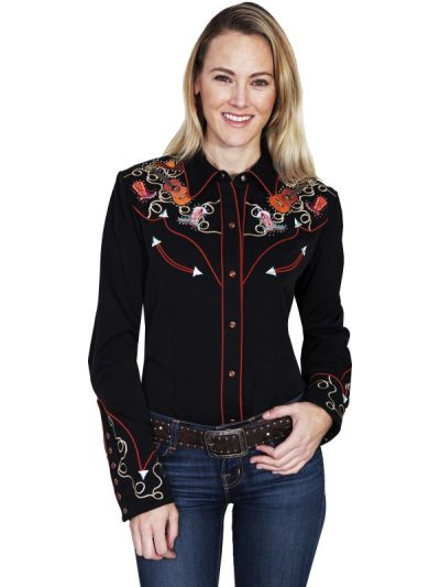 画像1: スカリー 刺繍 ラインスト-ン ウエスタン シャツ(長袖/ブラック ブーツ・ギター・ハット)/Scully Long Sleeve Western Shirt(Women's)