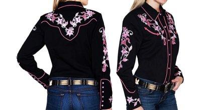 画像2: スカリー ピンクフローラル 刺繍 ウエスタン シャツ(長袖/ブラック)/Scully Long Sleeve Western Shirt(Women's)