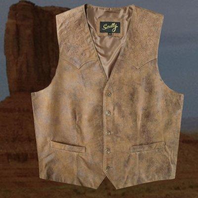 画像1: スカリー ウエスタン レザー ベスト(ブラウン)ラージサイズ42・46/Scully Leather Vest