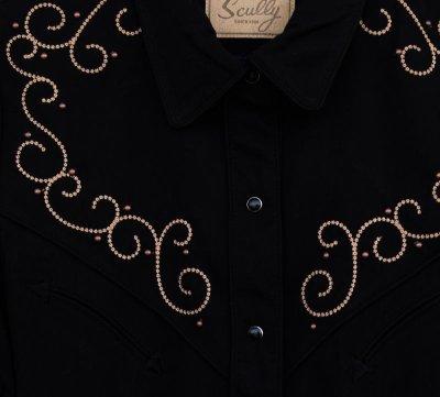 画像2: スカリー 刺繍 スクロール ウエスタン シャツ ブラック キャップスリーブ/Scully Western Shirt(Women's)